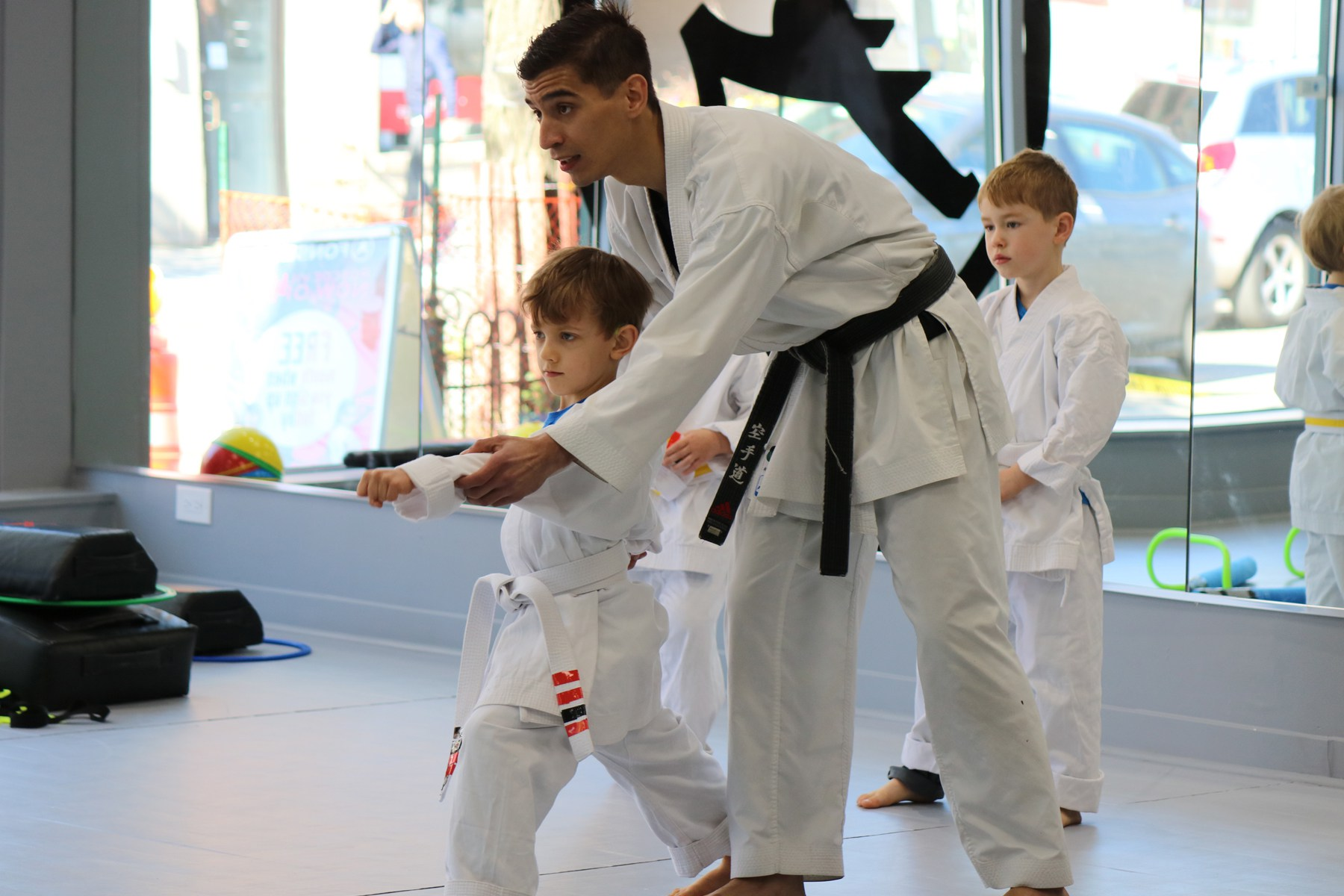 Kid learning karate