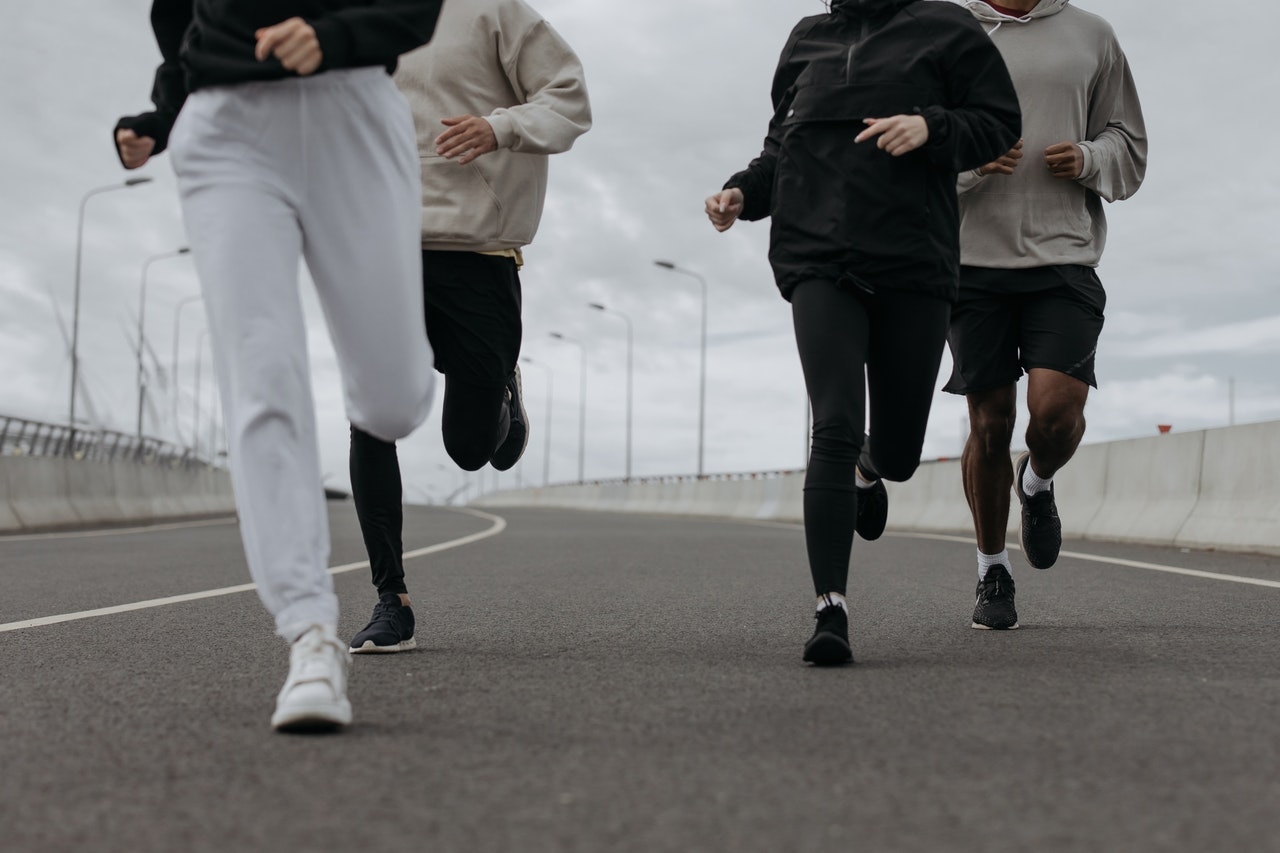 group of people running outside